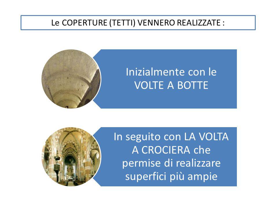 Inizialmente con le VOLTE A BOTTE In seguito con LA VOLTA A CROCIERA che permise di realizzare superfici più ampie Le COPERTURE (TETTI) VENNERO REALIZ