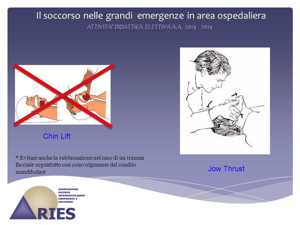 Il soccorso nelle grandi emergenze in area ospedaliera Chin Lift Jow Thrust * Evitare anche la sublussazione nel caso di un trauma facciale soprattutto con coinvolgimento del condilo mandibolare