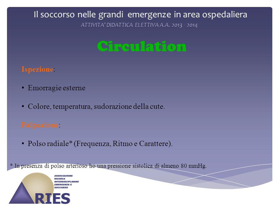 Il soccorso nelle grandi emergenze in area ospedaliera Circulation Ispezione: Emorragie esterne Colore, temperatura, sudorazione della cute. Palpazion