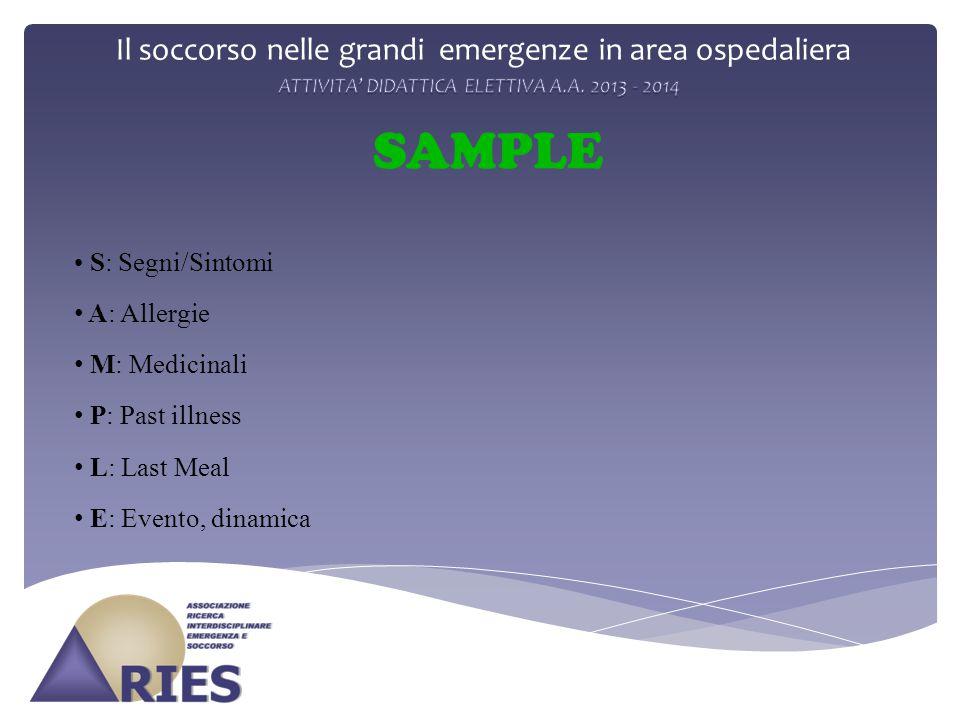 Il soccorso nelle grandi emergenze in area ospedaliera SAMPLE S: Segni/Sintomi A: Allergie M: Medicinali P: Past illness L: Last Meal E: Evento, dinam