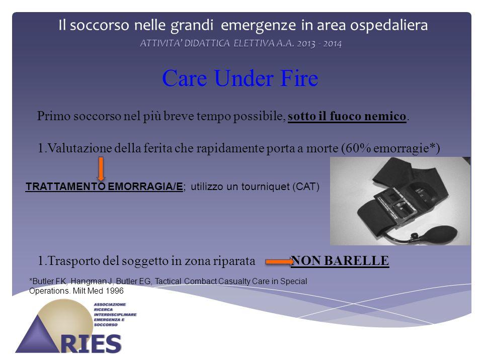 Il soccorso nelle grandi emergenze in area ospedaliera Care Under Fire Primo soccorso nel più breve tempo possibile, sotto il fuoco nemico. 1.Valutazi