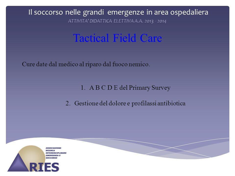 Il soccorso nelle grandi emergenze in area ospedaliera Tactical Field Care 1.A B C D E del Primary Survey 2.Gestione del dolore e profilassi antibiotica Cure date dal medico al riparo dal fuoco nemico.