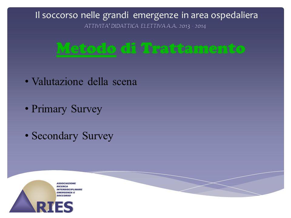 Il soccorso nelle grandi emergenze in area ospedaliera Metodo di Trattamento Valutazione della scena Primary Survey Secondary Survey