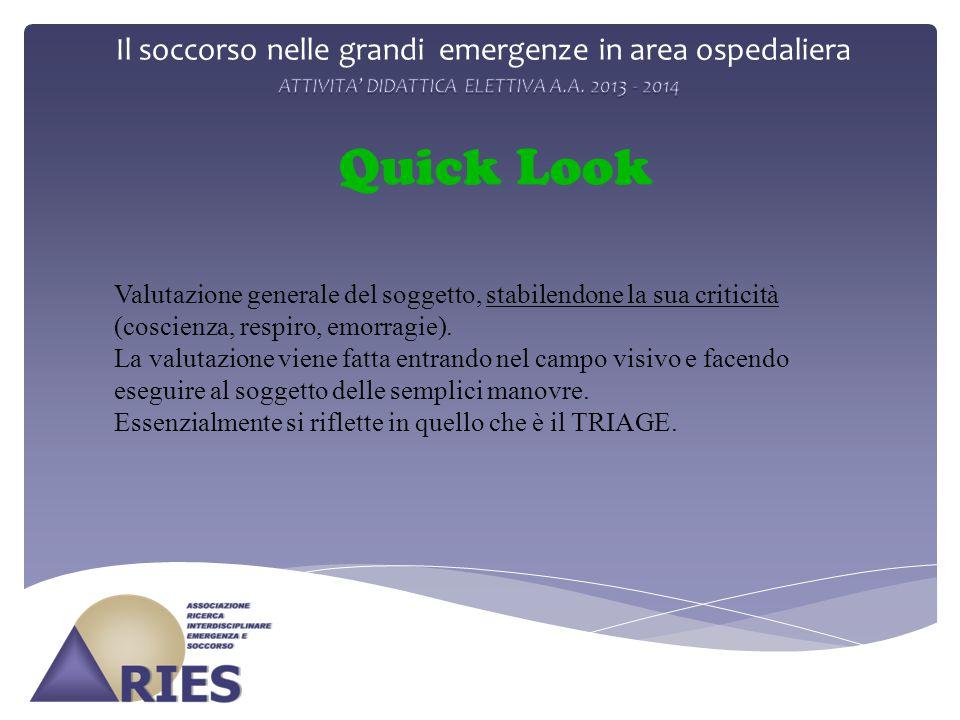 Il soccorso nelle grandi emergenze in area ospedaliera Quick Look Valutazione generale del soggetto, stabilendone la sua criticità (coscienza, respiro, emorragie).