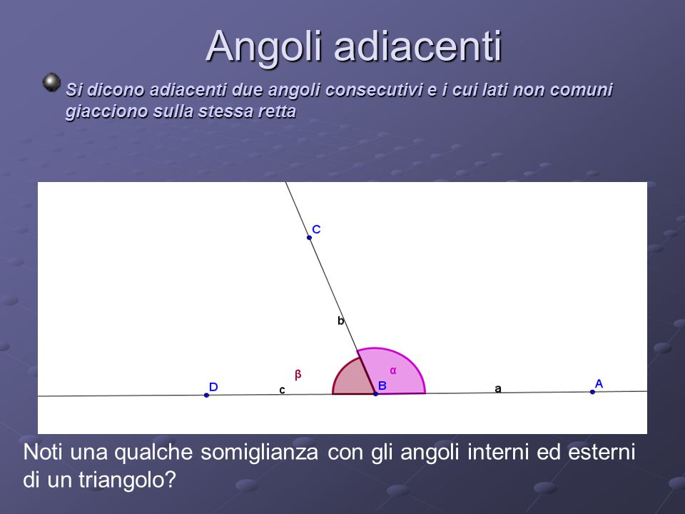Angoli adiacenti Si dicono adiacenti due angoli consecutivi e i cui lati non comuni giacciono sulla stessa retta Noti una qualche somiglianza con gli