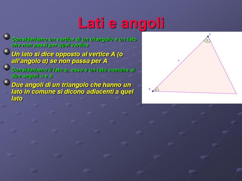 Lati e angoli C onsideriamo un vertice di un triangolo e un lato che non passi per quel vertice Un lato si dice opposto al vertice A (o all'angolo α)
