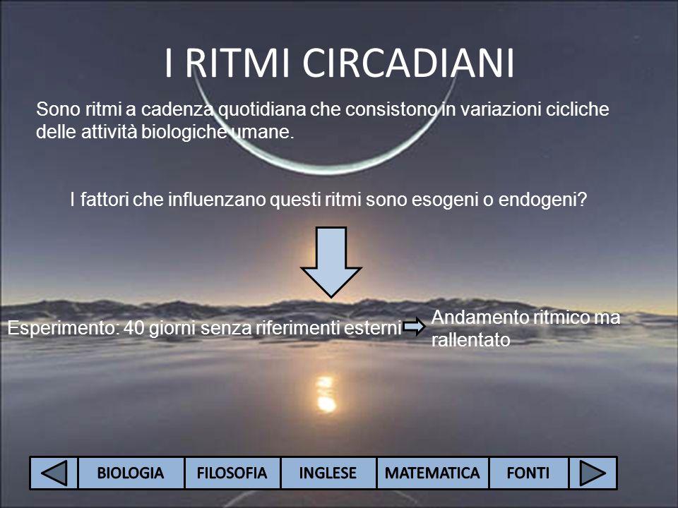 I RITMI CIRCADIANI Sono ritmi a cadenza quotidiana che consistono in variazioni cicliche delle attività biologiche umane. I fattori che influenzano qu