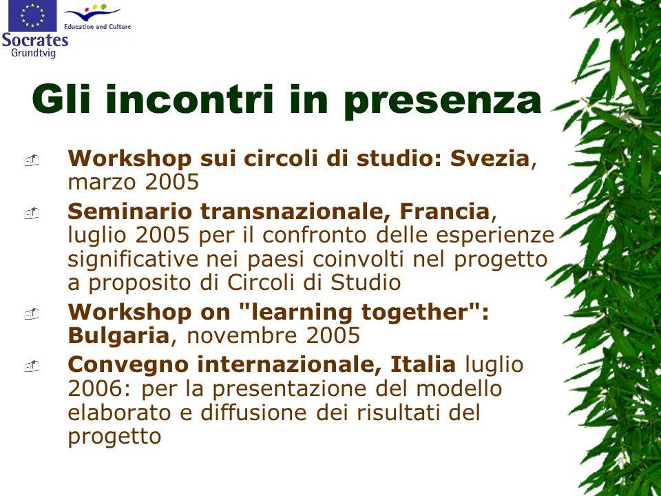 Gli incontri in presenza  Workshop sui circoli di studio: Svezia, marzo 2005  Seminario transnazionale, Francia, luglio 2005 per il confronto delle