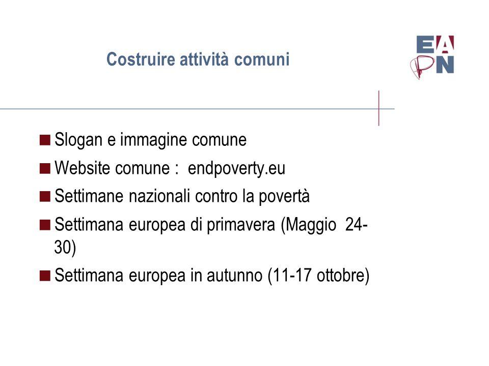 Costruire attività comuni  Slogan e immagine comune  Website comune : endpoverty.eu  Settimane nazionali contro la povertà  Settimana europea di primavera (Maggio 24- 30)  Settimana europea in autunno (11-17 ottobre)