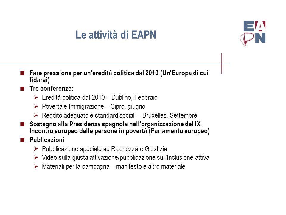 Le reti nazionali di EAPN  Realizzare il programma di EAPN per il 2010  Sviluppare attività e azioni a livello nazionale  Lavorare con gli Uffici nazionali di Coordinamento per assicurare il successo del 2010  Fare pressione affinché il 2010 porti in eredità misure politiche in grado di contrastare la povertà