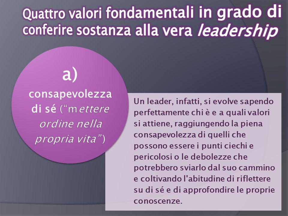 Un leader, infatti, si evolve sapendo perfettamente chi è e a quali valori si attiene, raggiungendo la piena consapevolezza di quelli che possono esse