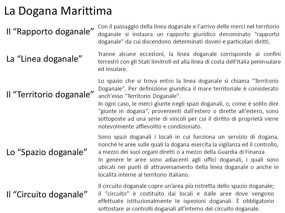 La Dogana Marittima Con il passaggio della linea doganale e l'arrivo delle merci nel territorio doganale si instaura un rapporto giuridico denominato