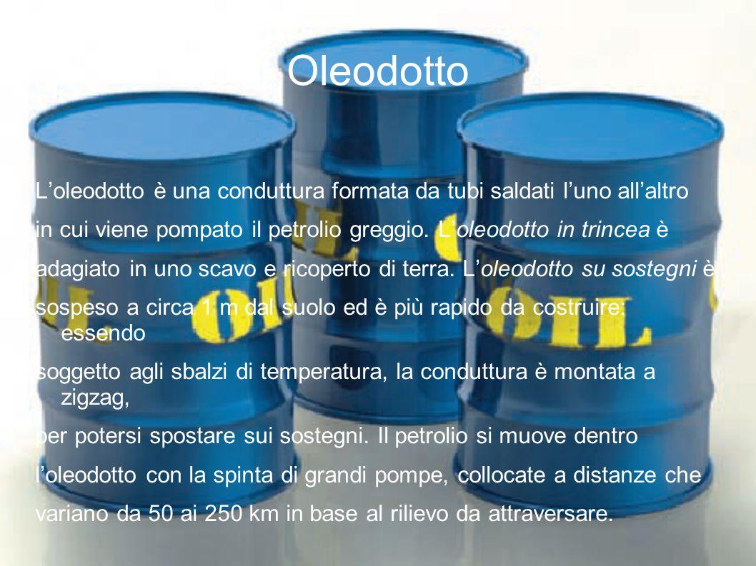 Oleodotto L'oleodotto è una conduttura formata da tubi saldati l'uno all'altro in cui viene pompato il petrolio greggio. L'oleodotto in trincea è adag