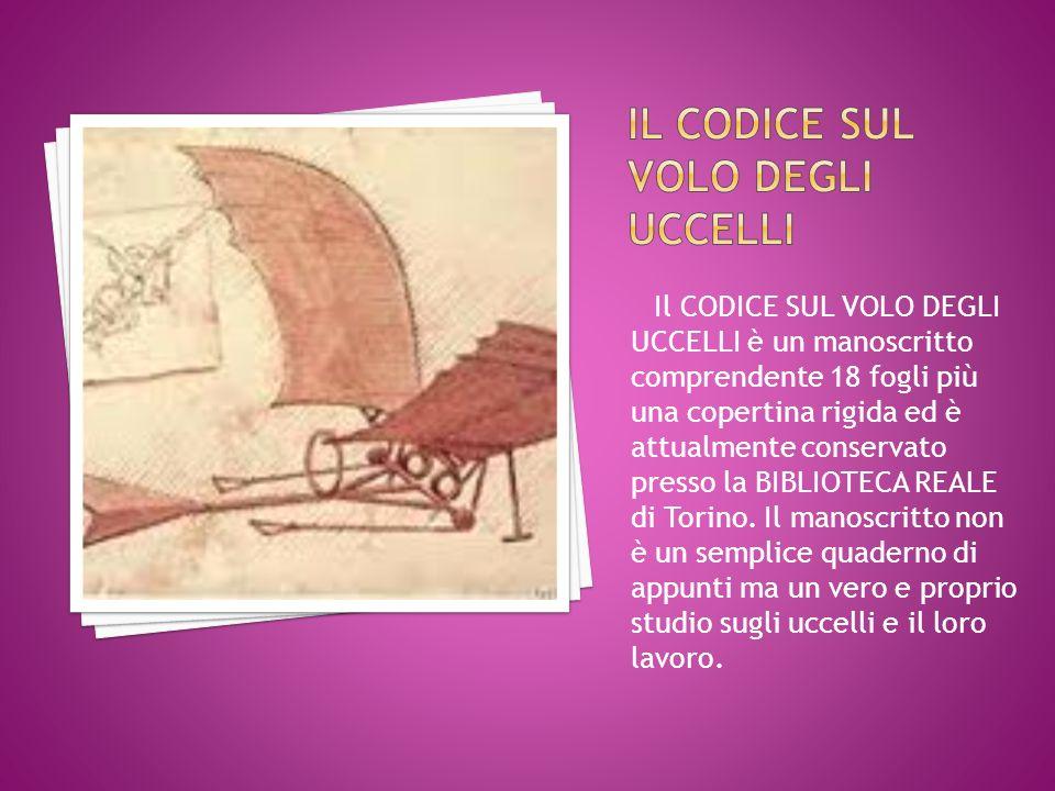 Il CODICE SUL VOLO DEGLI UCCELLI è un manoscritto comprendente 18 fogli più una copertina rigida ed è attualmente conservato presso la BIBLIOTECA REALE di Torino.