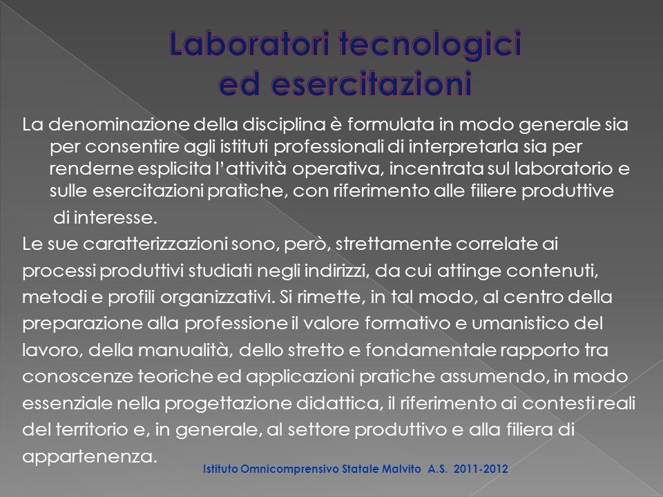 La denominazione della disciplina è formulata in modo generale sia per consentire agli istituti professionali di interpretarla sia per renderne esplicita l'attività operativa, incentrata sul laboratorio e sulle esercitazioni pratiche, con riferimento alle filiere produttive di interesse.