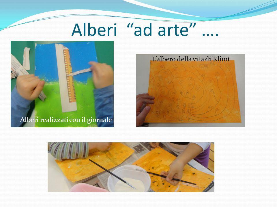 """Alberi """"ad arte"""" …. Alberi realizzati con il giornale L'albero della vita di Klimt"""