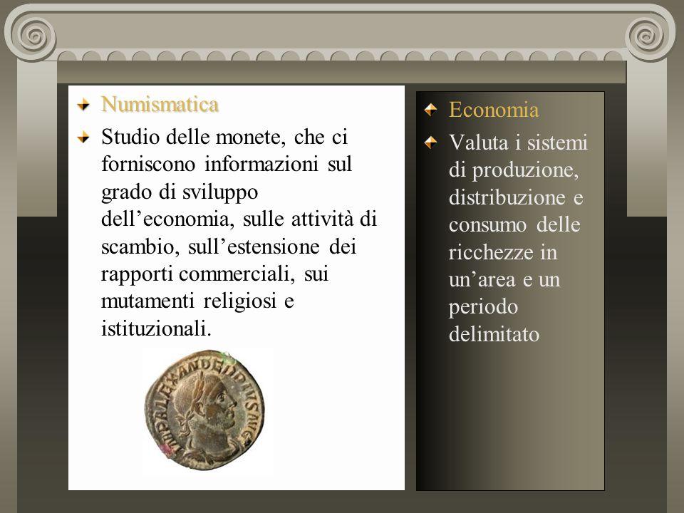 Numismatica Studio delle monete, che ci forniscono informazioni sul grado di sviluppo dell'economia, sulle attività di scambio, sull'estensione dei ra