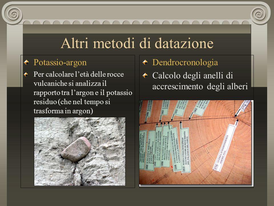 Altri metodi di datazione Potassio-argon Per calcolare l'età delle rocce vulcaniche si analizza il rapporto tra l'argon e il potassio residuo (che nel