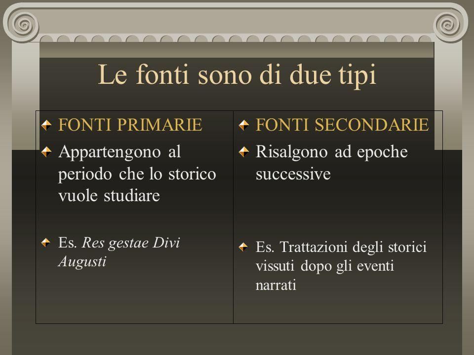 Le fonti sono di due tipi FONTI PRIMARIE Appartengono al periodo che lo storico vuole studiare Es. Res gestae Divi Augusti FONTI SECONDARIE Risalgono