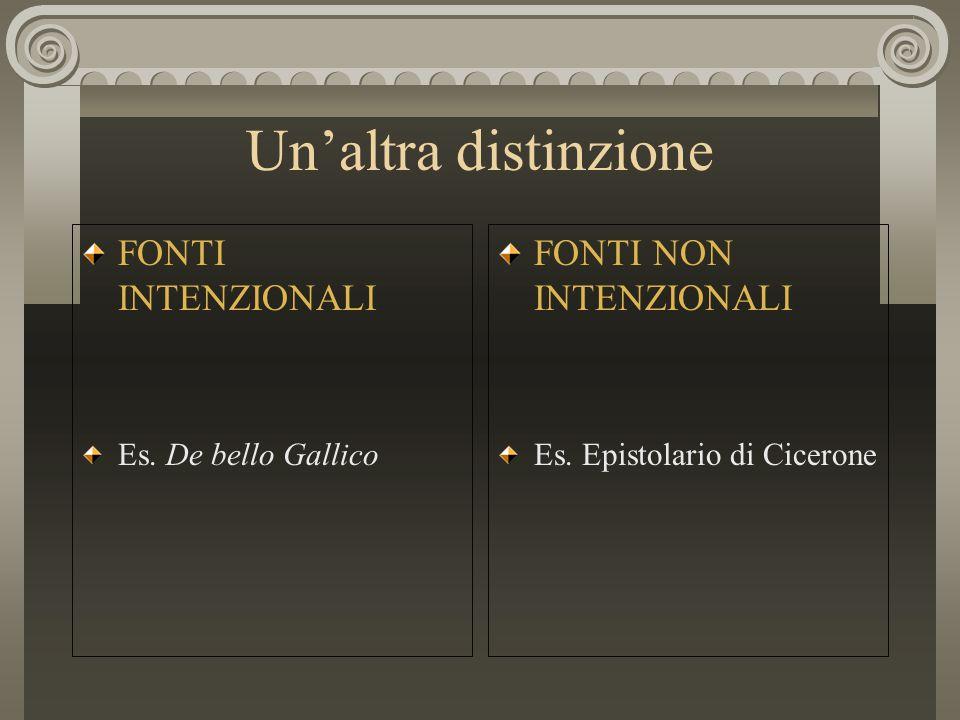 Un'altra distinzione FONTI INTENZIONALI Es. De bello Gallico FONTI NON INTENZIONALI Es. Epistolario di Cicerone