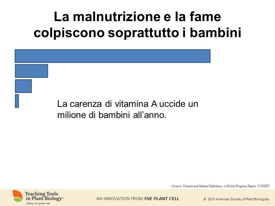 © 2013 American Society of Plant Biologists La carenza di vitamina A uccide un milione di bambini all'anno. (Source: Vitamin and Mineral Deficiency, A