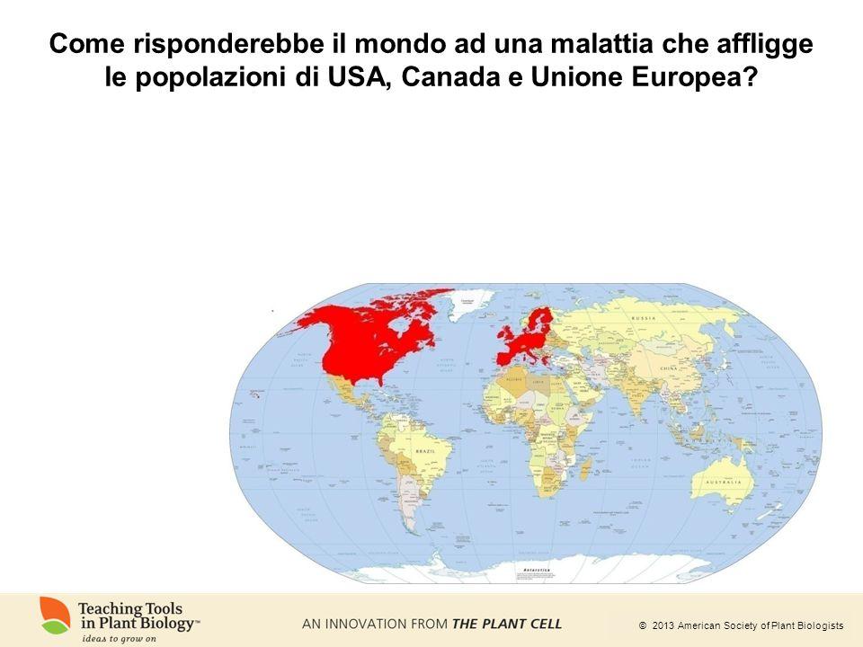 © 2013 American Society of Plant Biologists Come risponderebbe il mondo ad una malattia che affligge le popolazioni di USA, Canada e Unione Europea?