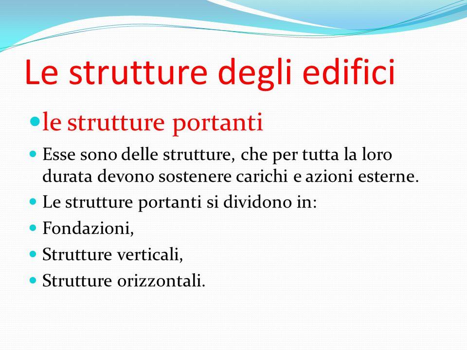 Le strutture degli edifici le strutture portanti Esse sono delle strutture, che per tutta la loro durata devono sostenere carichi e azioni esterne.