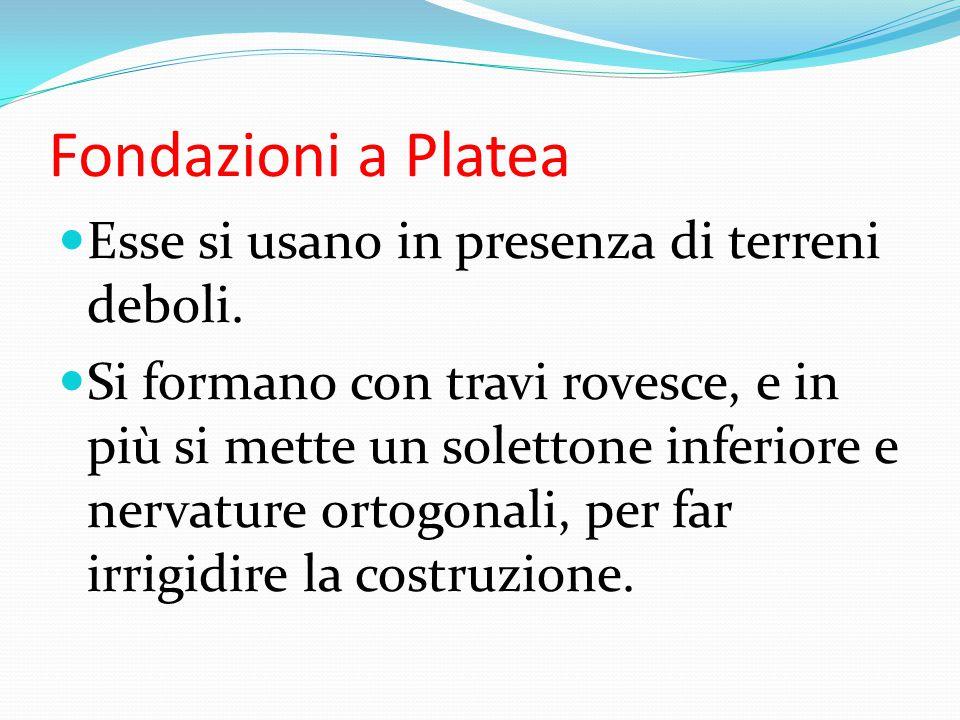 Fondazioni a Platea Esse si usano in presenza di terreni deboli.
