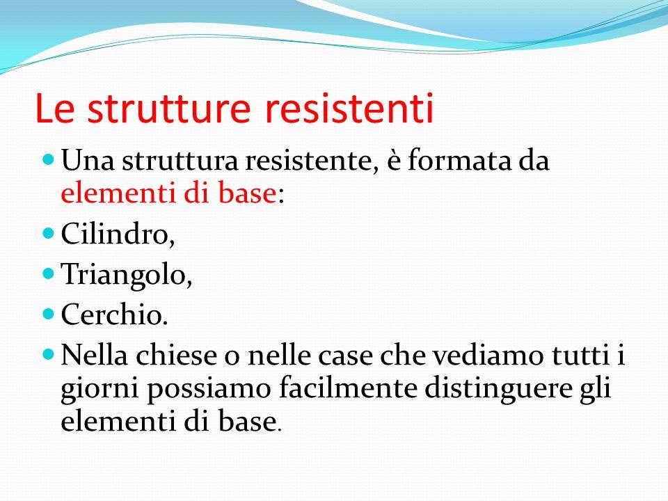 Le strutture resistenti Una struttura resistente, è formata da elementi di base: Cilindro, Triangolo, Cerchio. Nella chiese o nelle case che vediamo t