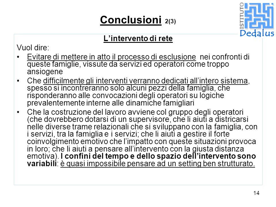 14 Conclusioni 2(3) L'intervento di rete Vuol dire: Evitare di mettere in atto il processo di esclusione nei confronti di queste famiglie, vissute da