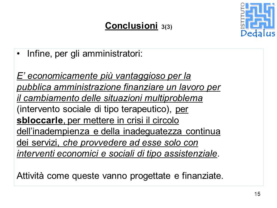 15 Conclusioni 3(3) Infine, per gli amministratori: E' economicamente più vantaggioso per la pubblica amministrazione finanziare un lavoro per il camb