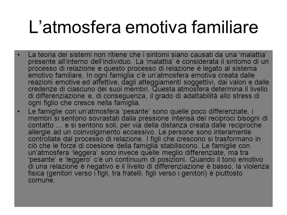 L'atmosfera emotiva familiare La teoria dei sistemi non ritiene che i sintomi siano causati da una 'malattia' presente all'interno dell'individuo. La