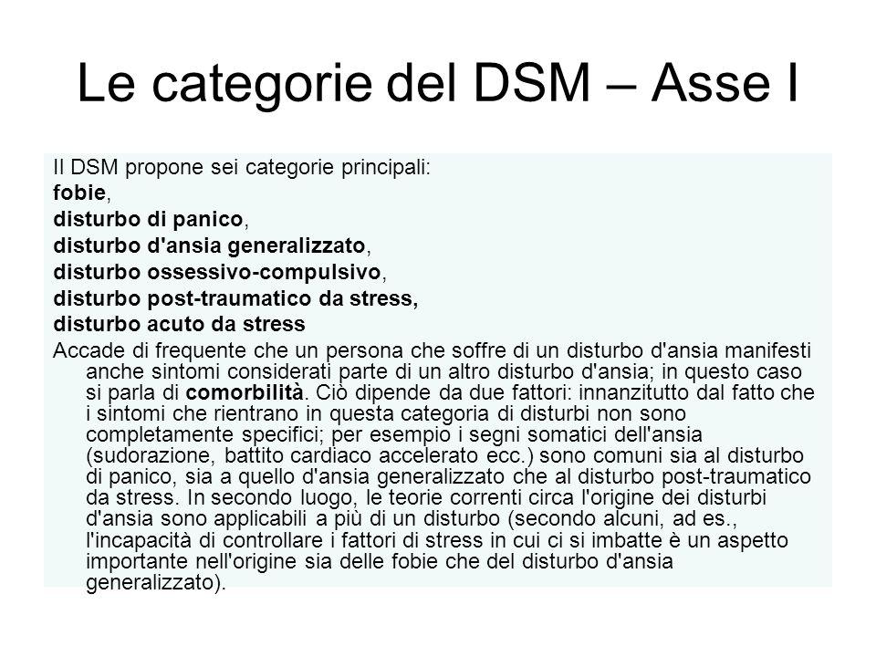 Le categorie del DSM – Asse I Il DSM propone sei categorie principali: fobie, disturbo di panico, disturbo d'ansia generalizzato, disturbo ossessivo-c
