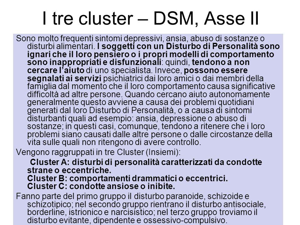I tre cluster – DSM, Asse II Sono molto frequenti sintomi depressivi, ansia, abuso di sostanze o disturbi alimentari. I soggetti con un Disturbo di Pe