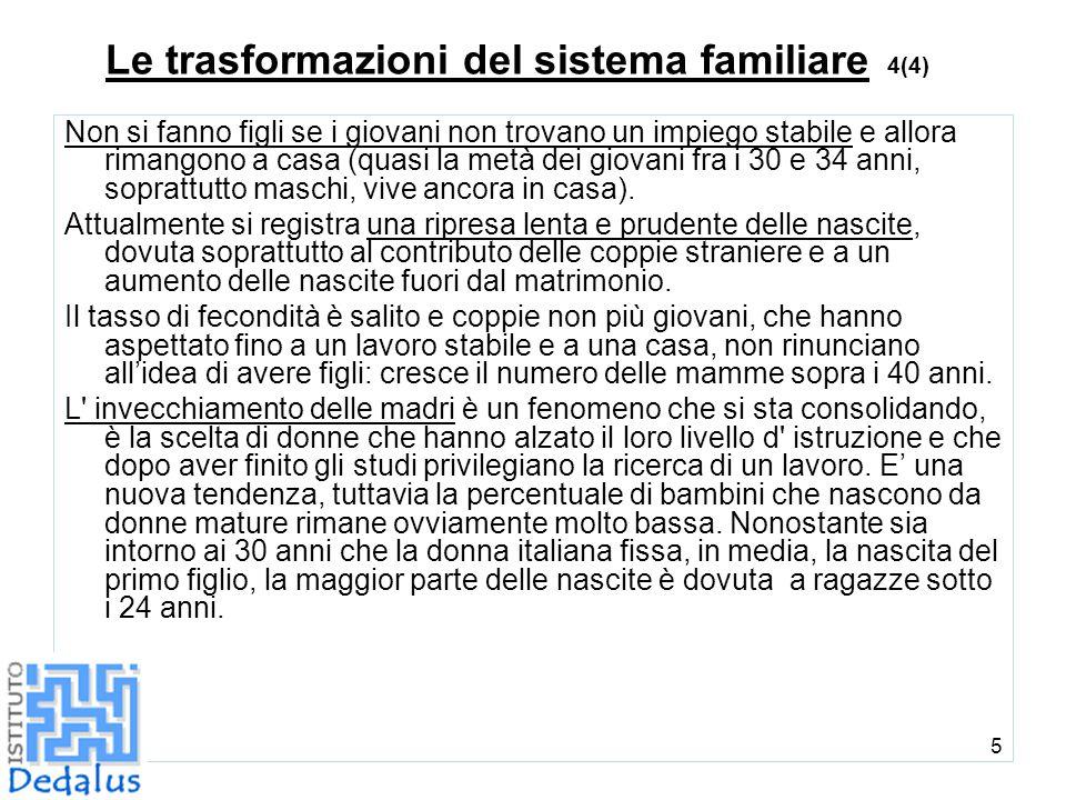 5 Le trasformazioni del sistema familiare 4(4) Non si fanno figli se i giovani non trovano un impiego stabile e allora rimangono a casa (quasi la metà