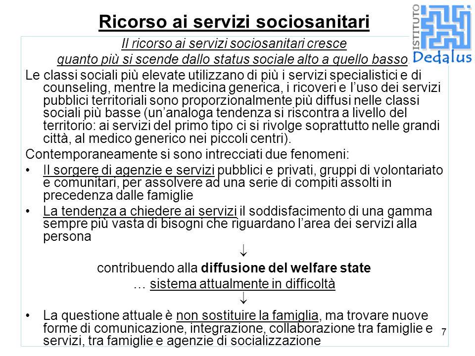7 Ricorso ai servizi sociosanitari Il ricorso ai servizi sociosanitari cresce quanto più si scende dallo status sociale alto a quello basso. Le classi