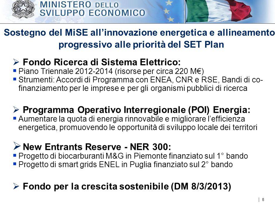 | Sostegno del MiSE all'innovazione energetica e allineamento progressivo alle priorità del SET Plan  Fondo Ricerca di Sistema Elettrico:  Piano Triennale 2012-2014 (risorse per circa 220 M€)  Strumenti: Accordi di Programma con ENEA, CNR e RSE, Bandi di co- finanziamento per le imprese e per gli organismi pubblici di ricerca  Programma Operativo Interregionale (POI) Energia:  Aumentare la quota di energia rinnovabile e migliorare l'efficienza energetica, promuovendo le opportunità di sviluppo locale dei territori  New Entrants Reserve - NER 300:  Progetto di biocarburanti M&G in Piemonte finanziato sul 1° bando  Progetto di smart grids ENEL in Puglia finanziato sul 2° bando  Fondo per la crescita sostenibile (DM 8/3/2013) 8