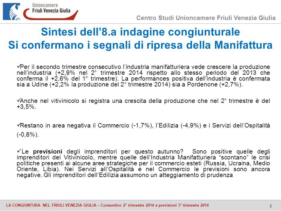 Centro Studi Unioncamere Friuli Venezia Giulia LA CONGIUNTURA NEL FRIULI VENEZIA GIULIA – Consuntivo 2° trimestre 2014 e previsioni 3° trimestre 2014 Sintesi dell'8.a indagine congiunturale Si confermano i segnali di ripresa della Manifattura 3 Per il secondo trimestre consecutivo l'industria manifatturiera vede crescere la produzione nell'industria (+2,9% nel 2° trimestre 2014 rispetto allo stesso periodo del 2013 che conferma il +2,6% del 1° trimestre).