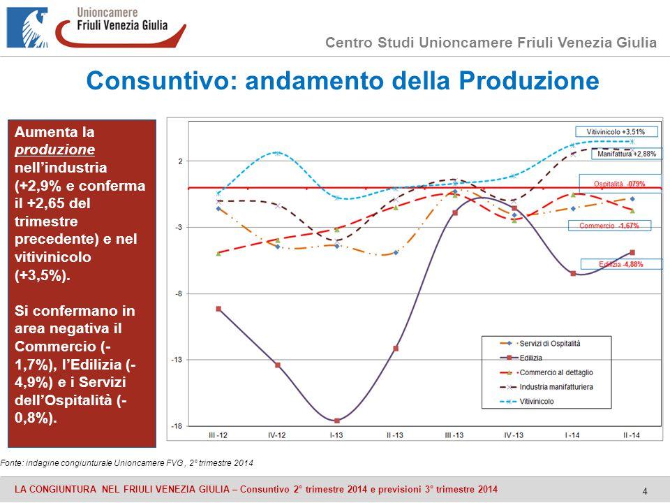 Centro Studi Unioncamere Friuli Venezia Giulia LA CONGIUNTURA NEL FRIULI VENEZIA GIULIA – Consuntivo 2° trimestre 2014 e previsioni 3° trimestre 2014 4 Consuntivo: andamento della Produzione Fonte: indagine congiunturale Unioncamere FVG, 2° trimestre 2014 Aumenta la produzione nell'industria (+2,9% e conferma il +2,65 del trimestre precedente) e nel vitivinicolo (+3,5%).