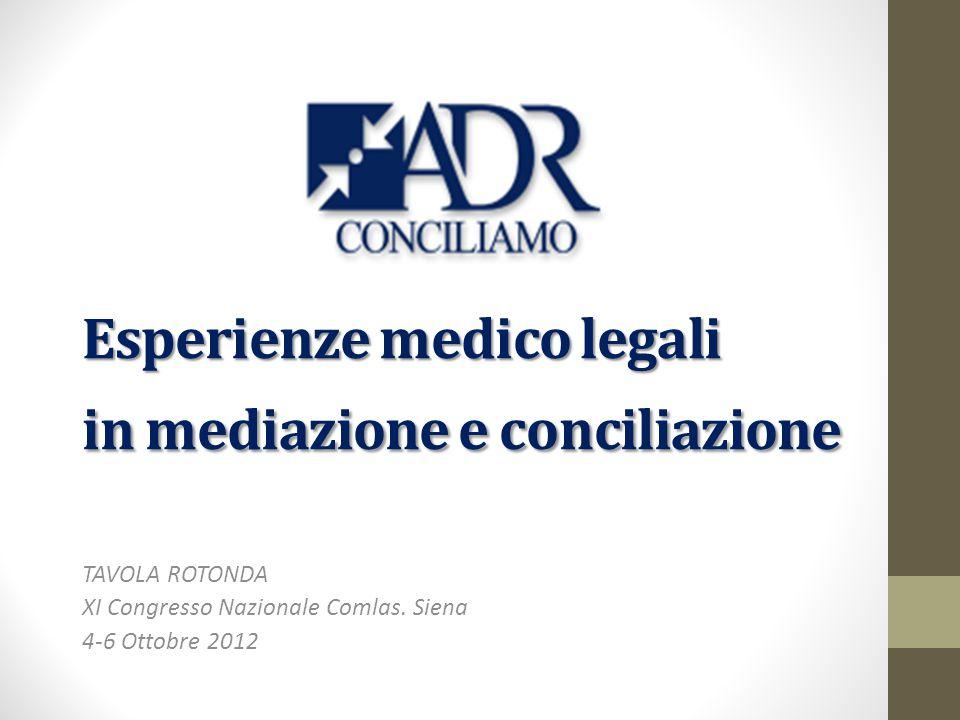 Esperienze medico legali in mediazione e conciliazione TAVOLA ROTONDA XI Congresso Nazionale Comlas.