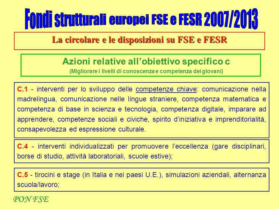 La circolare e le disposizioni su FSE e FESR Azioni relative all'obiettivo specifico c (Migliorare i livelli di conoscenza e competenza dei giovani) C