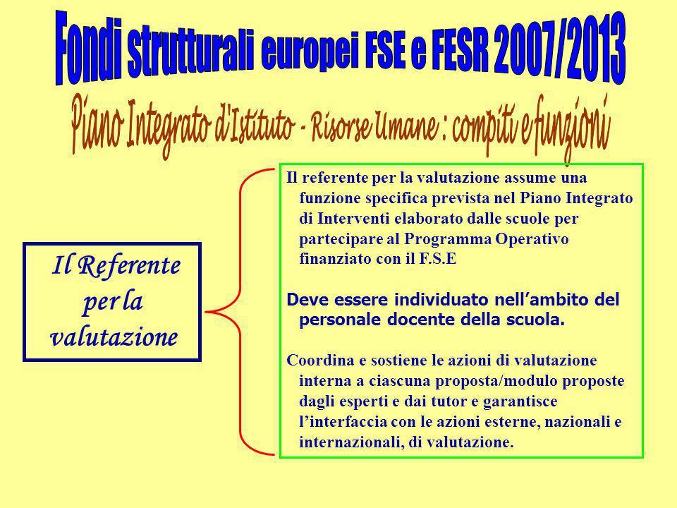 Il Referente per la valutazione Il referente per la valutazione assume una funzione specifica prevista nel Piano Integrato di Interventi elaborato dal
