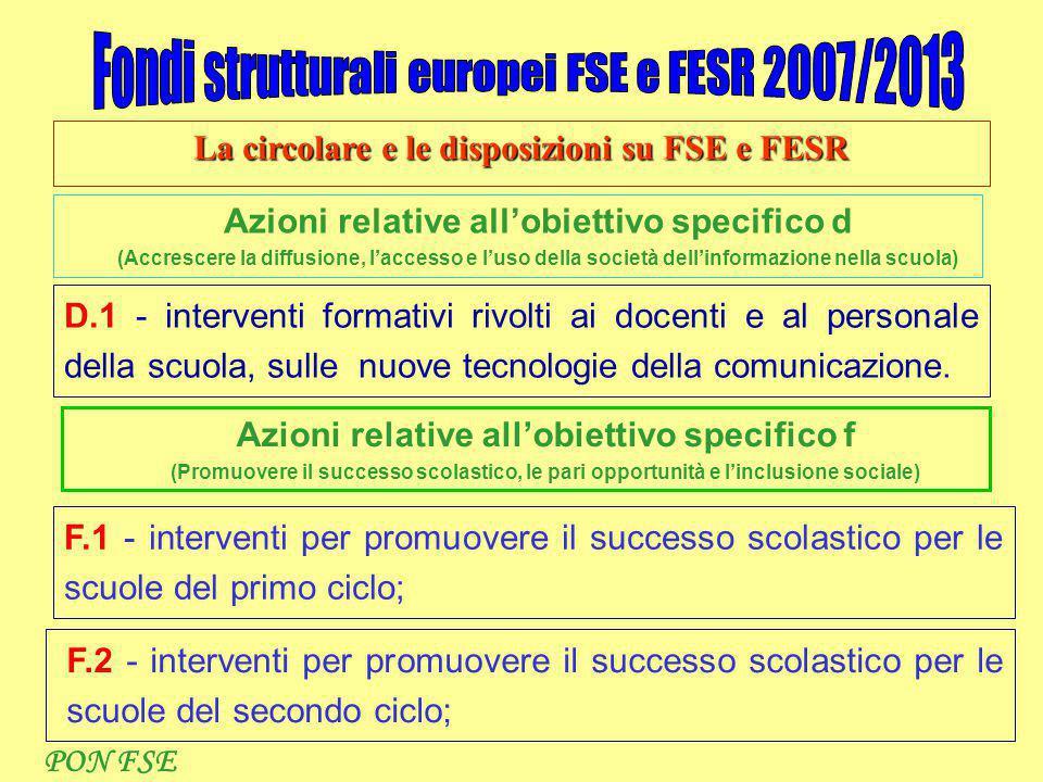 La circolare e le disposizioni su FSE e FESR Azioni relative all'obiettivo specifico d (Accrescere la diffusione, l'accesso e l'uso della società dell'informazione nella scuola) D.1 - interventi formativi rivolti ai docenti e al personale della scuola, sulle nuove tecnologie della comunicazione.