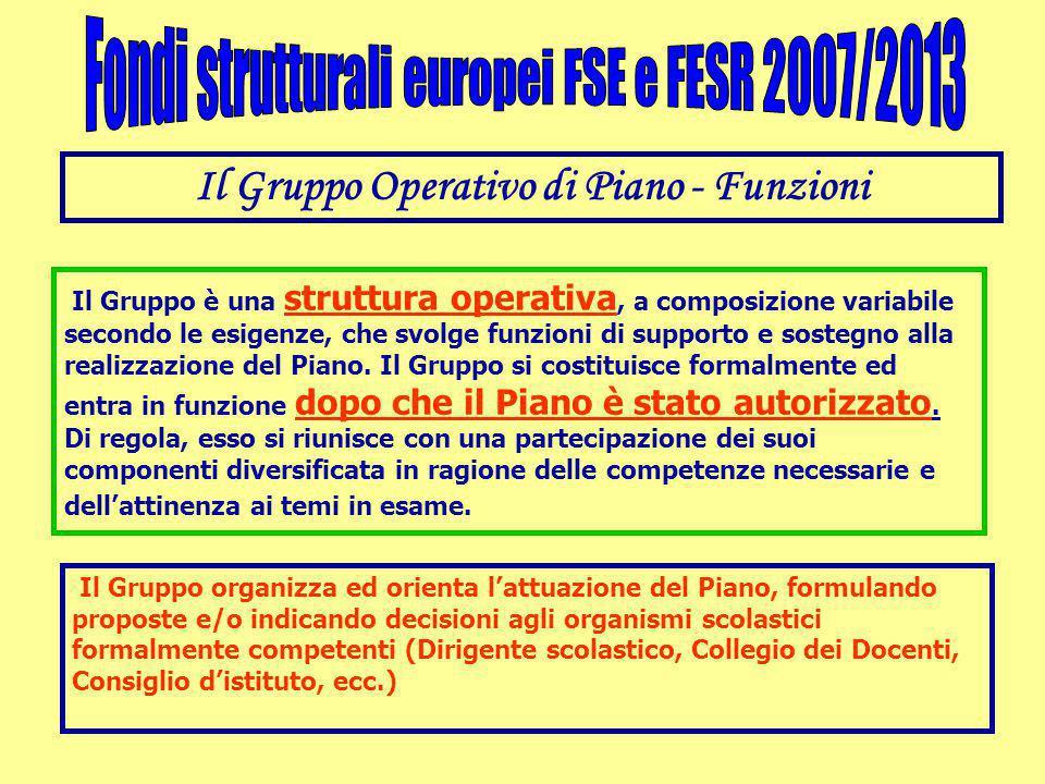 Il Gruppo Operativo di Piano - Funzioni Il Gruppo è una struttura operativa, a composizione variabile secondo le esigenze, che svolge funzioni di supporto e sostegno alla realizzazione del Piano.