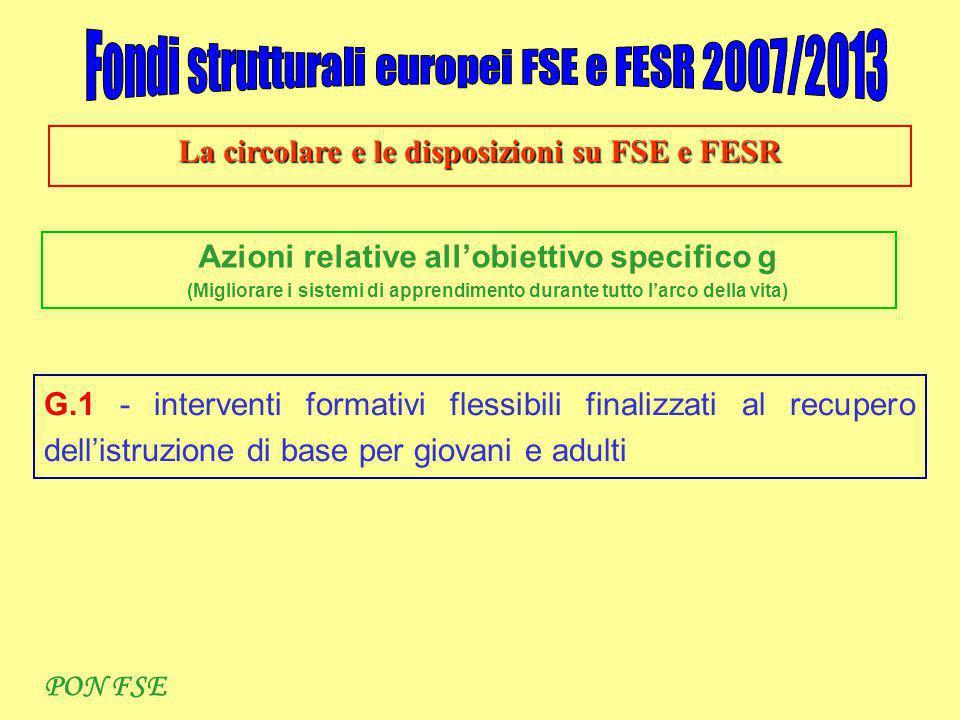 La circolare e le disposizioni su FSE e FESR Azioni relative all'obiettivo specifico g (Migliorare i sistemi di apprendimento durante tutto l'arco della vita) G.1 - interventi formativi flessibili finalizzati al recupero dell'istruzione di base per giovani e adulti PON FSE