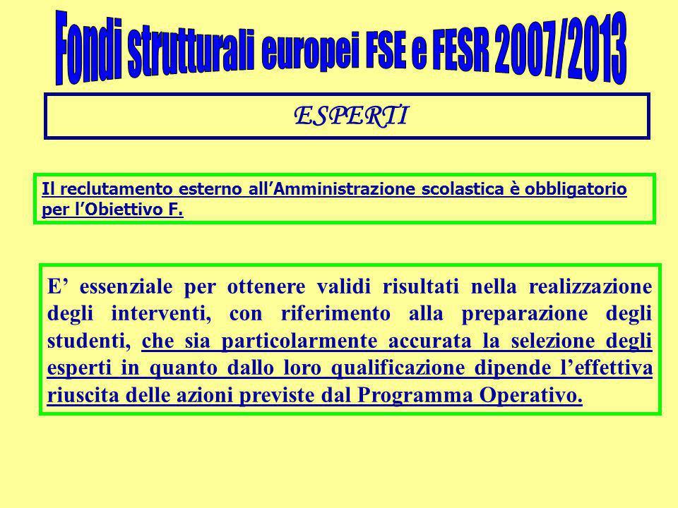 ESPERTI Il reclutamento esterno all'Amministrazione scolastica è obbligatorio per l'Obiettivo F. E' essenziale per ottenere validi risultati nella rea