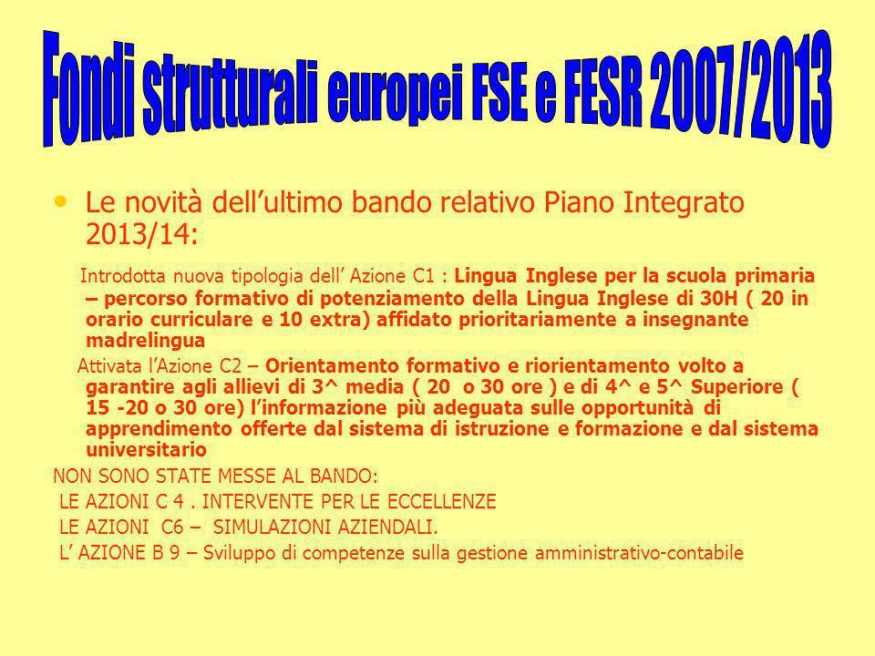 Le novità dell'ultimo bando relativo Piano Integrato 2013/14: Introdotta nuova tipologia dell' Azione C1 : Lingua Inglese per la scuola primaria – per