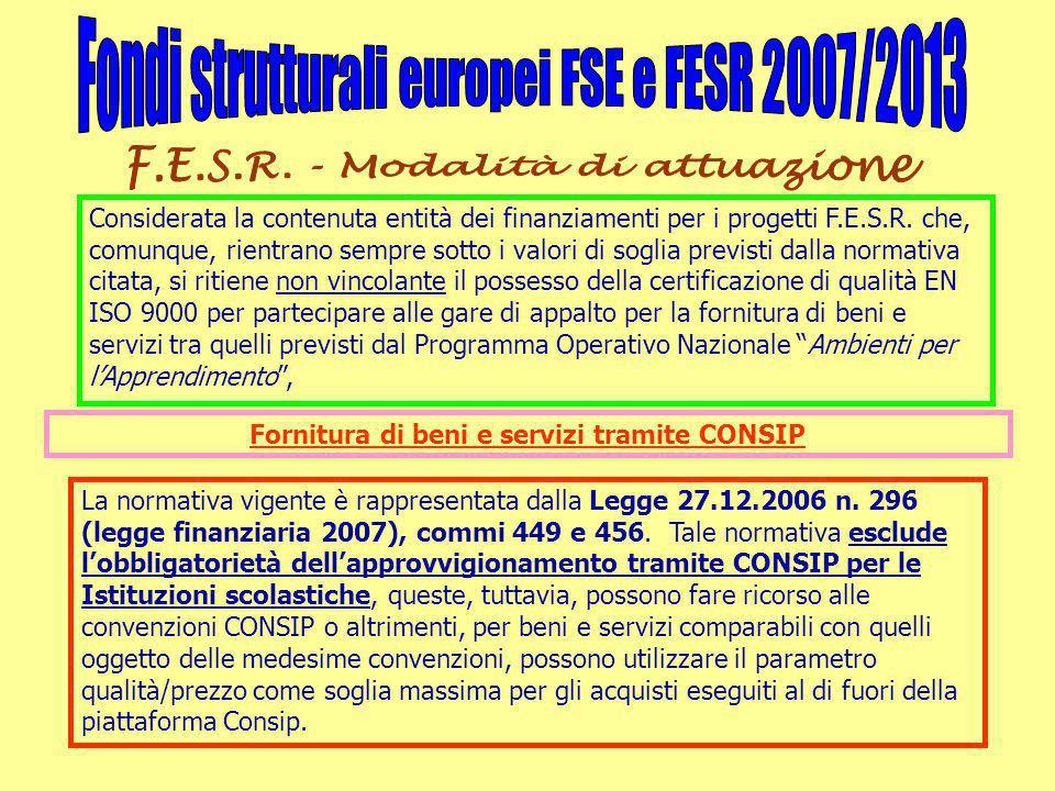 Considerata la contenuta entità dei finanziamenti per i progetti F.E.S.R.