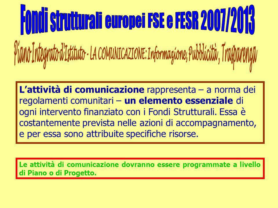 L'attività di comunicazione rappresenta – a norma dei regolamenti comunitari – un elemento essenziale di ogni intervento finanziato con i Fondi Strutt