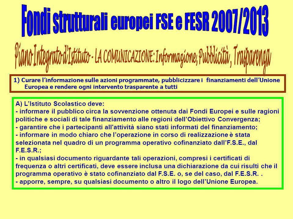A) L'Istituto Scolastico deve: - informare il pubblico circa la sovvenzione ottenuta dai Fondi Europei e sulle ragioni politiche e sociali di tale finanziamento alle regioni dell'Obiettivo Convergenza; - garantire che i partecipanti all attività siano stati informati del finanziamento; - informare in modo chiaro che l'operazione in corso di realizzazione è stata selezionata nel quadro di un programma operativo cofinanziato dall'F.S.E., dal F.E.S.R.; - in qualsiasi documento riguardante tali operazioni, compresi i certificati di frequenza o altri certificati, deve essere inclusa una dichiarazione da cui risulti che il programma operativo è stato cofinanziato dal F.S.E.